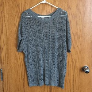 Faded Glory open weave, short sleeve sweater gray